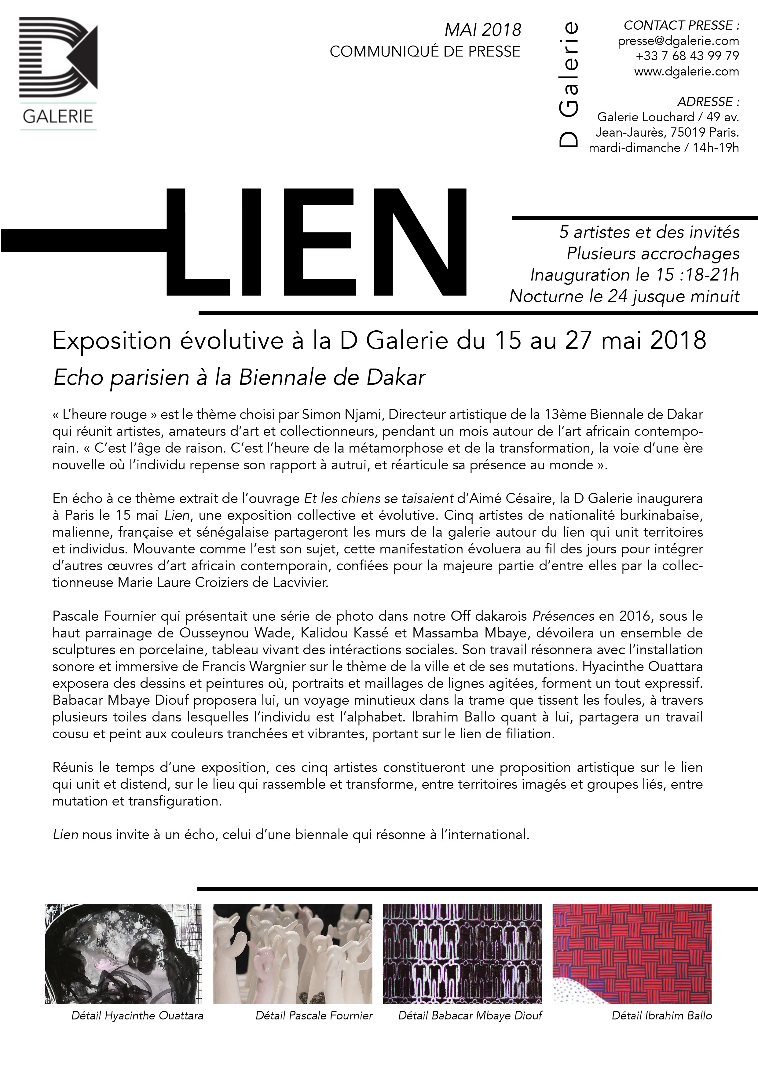 Communiqué - D Galerie - Exposition LIEN